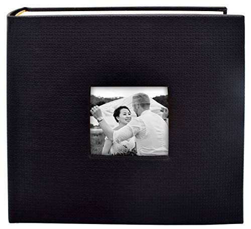 Art Leather Albums - Golden State Art , Black Synthetic Leather Photo Album, Holds 200 4x6 Photos, 2 per Page with Memo Space Writing