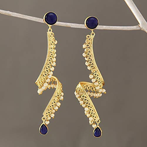 Tokenz Golden Plated Metal With Pearl Beads Earrings jhumkas