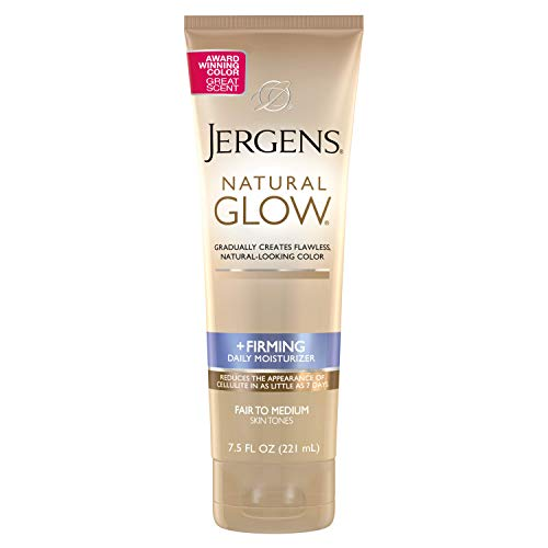 Jergens Natural Glow +FIRMING Body Lotion, Fair to Medium Skin Tone, 7.5 Ounce Sunless Tanning Daily Moisturizer with Collagen and Elastin. Helps to Visibly Reduce Cellulite (Best Gradual Tanning Lotion For Pale Skin)