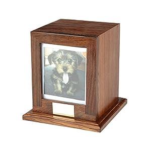 Custom Wood Personalized Engraved Photo Frame Pet Urn, Dog Cat Memorial Keepsake Urn