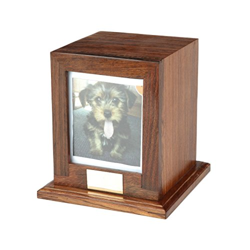 Custom Wood Personalized Engraved Photo Frame Pet Urn, Dog Cat Memorial Keepsake Urn (Medium)