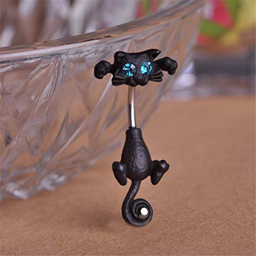 New Style Navel Ring 316L Surgical Steel Piercing Belly Button Rings Beautiful Cat Navel Piercing Sex Body Jewelry Black Gun -