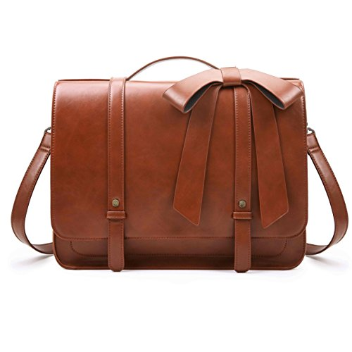 Leather Ladies Laptop Case - ECOSUSI Ladies Briefcase PU Leather Laptop Backpack Shoulder Satchel Computer Crossbody Bag with Detachable Bow, Brown