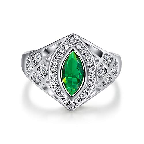Mavonne 925 Sterling Silver Marquise Cut Created Emerald Quartz Filled Contemporary Ring Band (Color : Green, Size : 6)