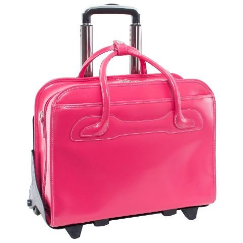 McKlein WILLOWBROOK Fuchsia Detachable-Wheeled Ladies' Briefcase (94983)