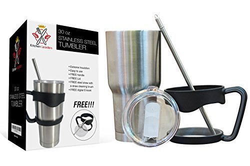 Kitchen Leaders 30oz Stainless Steel Tumbler Double Wall Vacuum Insulated Rambler With Plastic Handle Slide Lid Steel Straw cleaner brush & Free Ebook.Thermal Resistance Hot and Cold Drink.Travel Mug