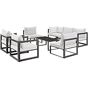 Amazon.com: modway Fortuna 8 Piece Poolside aluminio Patio ...