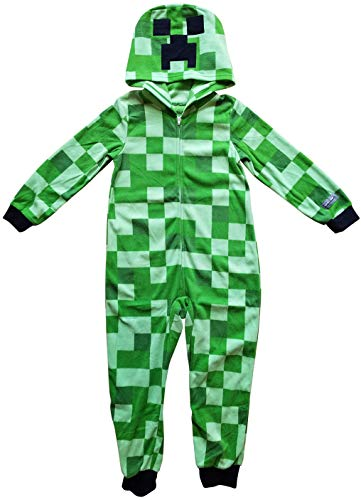 Minecraft Creeper Boys Union Suit Costume Pajamas (Large 10/12),Green