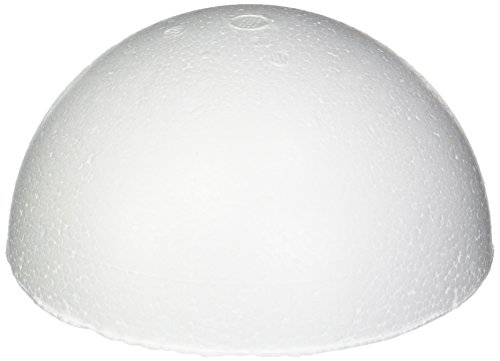 Smoothfoam RT129H-4 Pastel Half Ball, 4.5-Inch, White, 4-Pack (Crafts Balls Styrofoam)