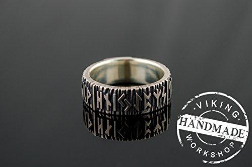 Elder Futhark Runes Ring Sterling Silver Viking Jewelry