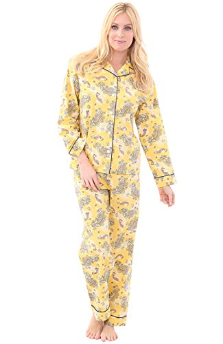 Alexander Del Rossa Womens Woven Cotton Pajama Set with Pants, Long Sleeve Button Down Pjs, Large Paisleys on Yellow with Midnight Blue Piping (A0517V71LG)