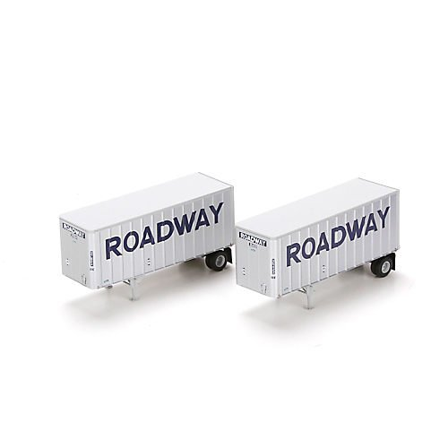 HO RTR 28' Trailers w/Dolly, Roadway (2) by Athearn ()