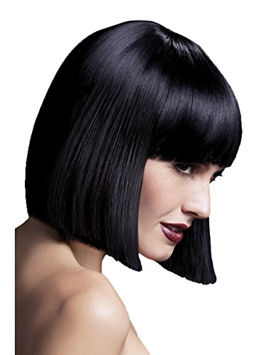 Blunt Costumes (Fever Women's Blunt Cut Black Bob Wig with Bangs, 12inch, One Size, Lola,5020570424896)