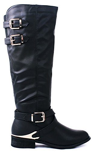JJF Shoes Indigo Black P-Leather Golden Buckle Metallic Decor Crossed Strap Knee High Riding (Metallic Leather Knee Boot)