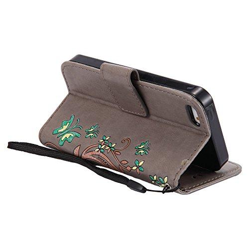 magnetica per credito Custodia Iphone con pelle carte 5s per fiore di motivo Custodia forma con Titolare in Lirves a supporto di grigia chiusura lusso protettiva floreale incorporata di copertura Aeeque® farfalla funzione 5S w668qP