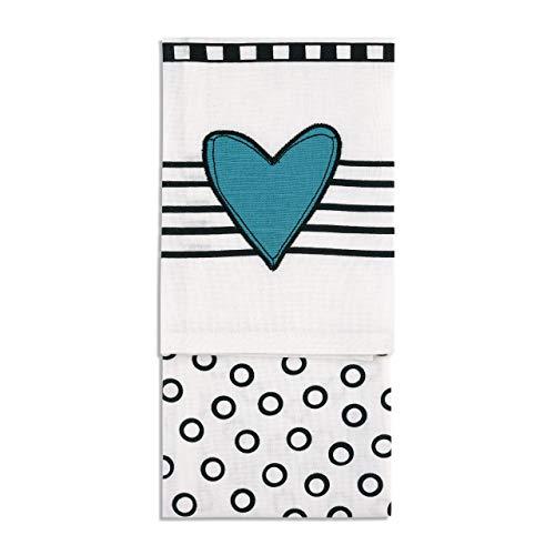 Heart Stripe Dot Blue Black White 27 x 17 Cotton Fabric Dish Tea Towel