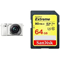 Sony Alpha a6000 Mirrorless Digital Camera with 16-50 mm Lens, 24 MP (White) and SanDisk Extreme 64GB SDXC UHS-I Card