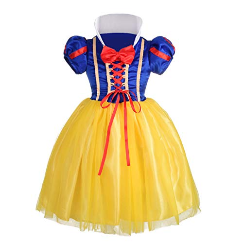 Dressy Daisy Girls' Princess Snow White Costume Fancy Dresses Up Halloween Party Size 4 ()
