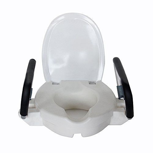 Medical Elevated Raised Toilet Seat Portable Elevated Riser with Padded Handles Toilet Seat Lifter for Bathroom Safety