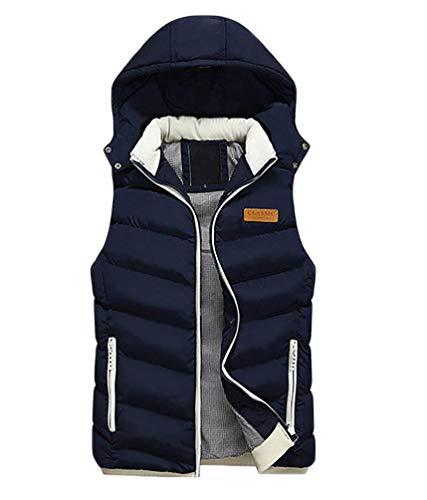 Fashion Men's Men's Detachable Vest Coat Warm Zipper Lightweight Hooded Jacket Winter Warm Down Jacket Vest Marineblau