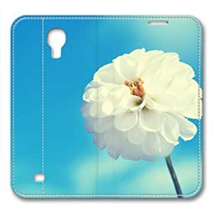 iCustomonline White Flower and Blue Sky Designed Leather for Samsung Galaxy S4 I9500 Case Cover Skin