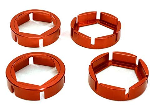 Integy RC Model Hop-ups C27098RED Billet Machined Wheel Hex Outer Reinforcement Ring Set for Traxxas X-Maxx 4X4 4