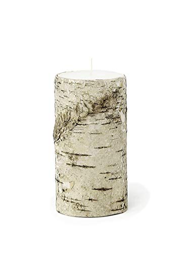 "Serene Spaces Living Birch Bark Pillar Candle - Unique, All-Natural Birch Bark Wrapped Candle - Wood Wrapped Candle is Perfect for Home or Event Décor - Medium, 5.75"" Tall x 3"" Diameter"