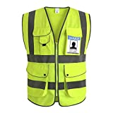 XIAKE Class 2 Reflective Safety Vest with 9 Pockets and Zipper Front High Visibility Safety Vests,ANSI/ISEA Standards(Small,Yellow)