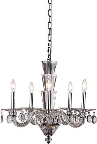 Elegant Lighting Chandelier Augusta 5-Light Chrome Crystal Glass Polished Nickel New ()