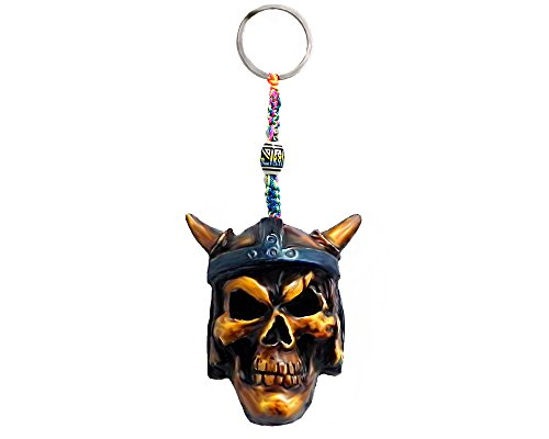 Viking Skull Warrior Horned Blue Helmet Handpainted Figurine Dangle Handmade Keychain Multicolored Braided Macramé Bead Silver Keyring Hanging Ornament Charm Car Bag Accessory