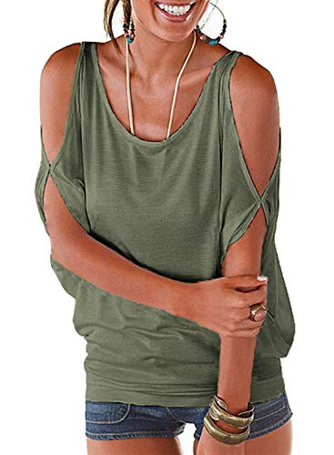 Womens Cut Out Off Shoulder Short Sleeve Dolman Drape Loose Fit Tunic Top (XL, Army Green 008) ()
