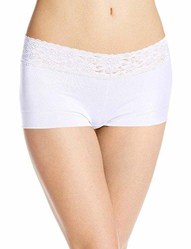 (Ladies & Men's story Women's No Show Microfibre Lace Dream Boyshort Panties Boyleg Briefs Underwear(White, L))