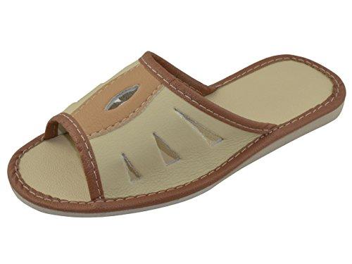 Piel auténtica elegante señoras de las mujeres zapatillas, chanclas TP-W-13