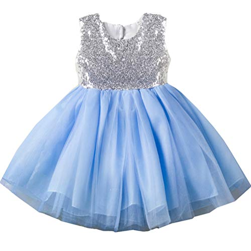 - 18-24 month 1 Year Old 2t Blue Toddler Dresses Trendy Spring Fancy Puffy Halter Gown Pageant Formal Ruffle Baby Dresses Church Cute Dresses for Girls Baptism Christening Birthday Party Baby Girl Dress