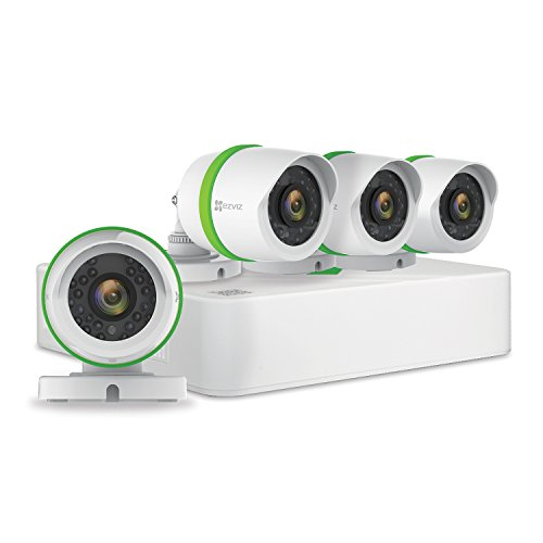 EZVIZ FULL HD 1080p Outdoor Surveillance System, 4 Weatherproof HD Security Cameras, 4 Channel 1TB DVR Storage, 100ft Night Vision, Customizable Motion Detection ()