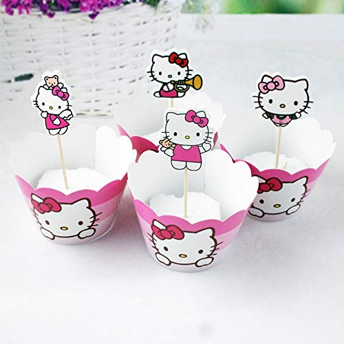 1 lot Kids Favors DIY Decoration Party Baby Shower Cake Toppers Hello Kitty Theme Cupcake Paperboard Wrappers Birthday Supplies 24pcs]()