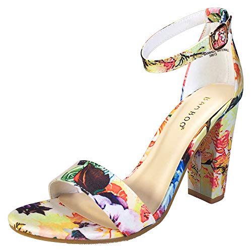 BAMBOO Women's Single Band Chunky Heel Sandal with Ankle Strap, White Printed Fabric, 9.0 B US (Chunky Sexy Heel Womens Shoe)