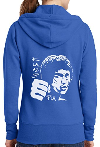 Womens Bruce Lee Full Zip Hoodie, Royal, 4X