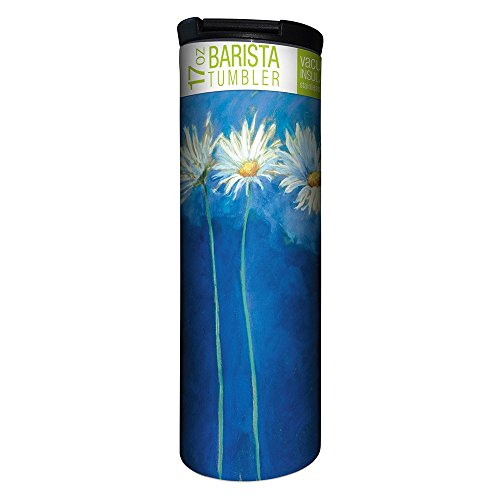 (Tree-Free Greetings Daises on Blue Vacuum Insulated Travel Coffee Tumbler, 17 Ounce Stainless Steel Mug, Gift for Flower Lovers and Gardeners (BT20585))