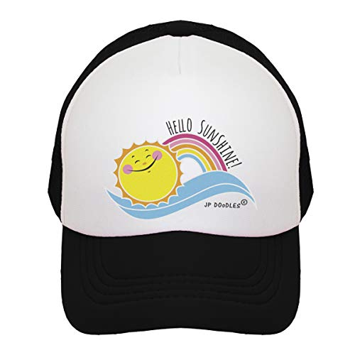 JP DOoDLES Hello Sunshine and Rainbow on Kids Trucker Hat. Available in Baby, Toddler, and Youth Sizes. (Black-Hello Sunshine, Kiddo 2-5 YRS) for $<!--$18.95-->