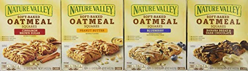 - Nature Valley Soft Baked Oatmeal Bars 4 Variety Pack - Banana Bread Dark Chocolate, Blueberry, Cinnamon Brown Sugar, Peanut Butter - 24 Total Bars