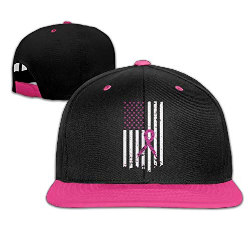 JLPOU-6 Mens/Womens Hip-hop Hats Pink Ribbon Breast Cancer Awareness Flag Adjustable Snapback Hat