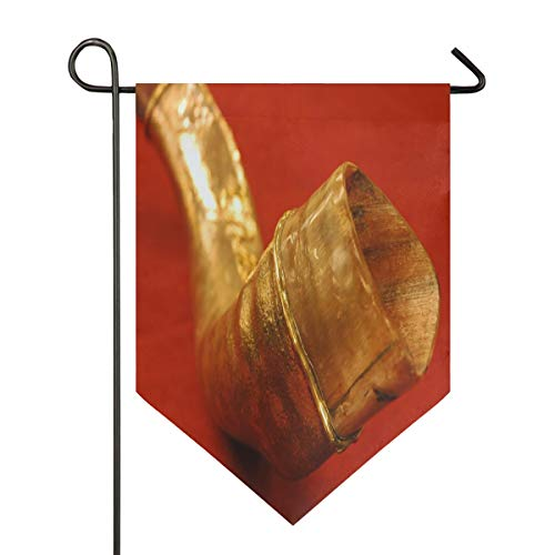 (Happy Rosh Hashanah Shofar Garden Flag Double Sided Polyester Yard Flag for Home House Outdoor Decoration 28x40 Inch)