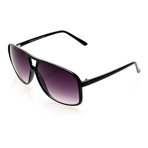 NYS Collection Eyewear Hanover Square Plastic Sunglasses (Black, - Nys Eyewear