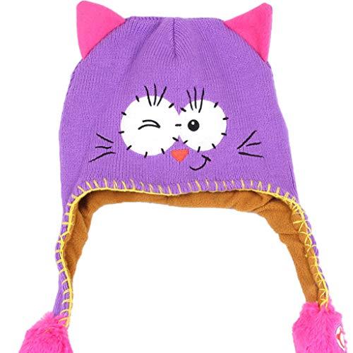 kaiCran Flipeez Hat -Boys Girls Monster Action Hat Children Winter Warm Hat Cap (Purple)