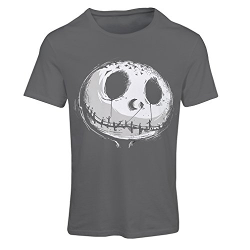 lepni.me T Shirts for Women Scary Skull Face - Nightmare - Halloween Outfit Party Costumes (X-Large Graphite Multi Color) -