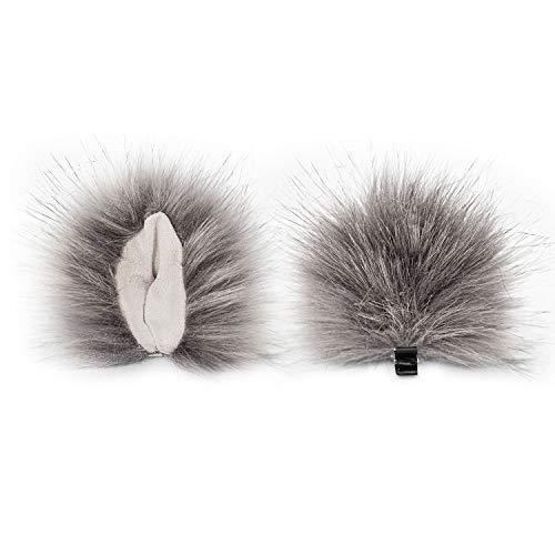Animears Realistic Clip-On Faux Fur Animal Ears Handmade Clip-on Animal Ears | Soft and Fluffy Animal Ear Costume (Gray) -