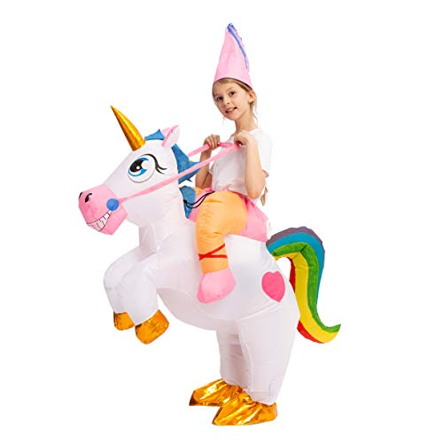 Top Kids Halloween Costumes (Spooktacular Creations Inflatable Costume Unicorn Riding a Unicorn Air Blow-up Deluxe Halloween Costume (7-10)