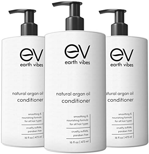Earth Vibes Argan Oil Conditioner - (16oz/473mL) - Sulfate Cruelty And Paraben Free - Made With Organic Jojoba Oil, & Coconut Oil - Moisturizes & Repairs All Hair Types - For Men & Women (1 Bottle)