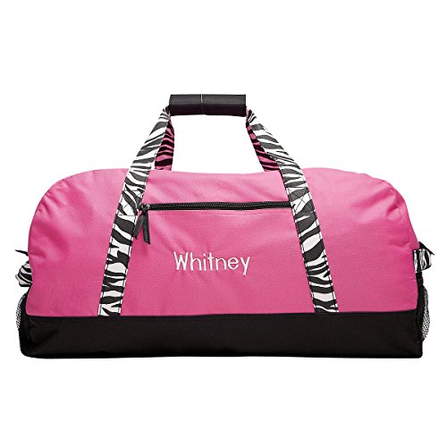 Personalized Kids Zebra Print Carry-On Duffel Bag for Girls (11